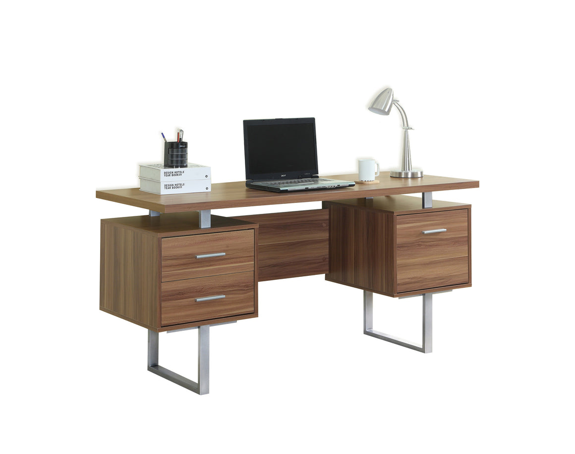 "60""L Walnut Computer Desk / Silver Metal Legs / Left and Right Drawers by Monarch Specialties Inc. - White Background - TheOfficeFurnitureDepot"