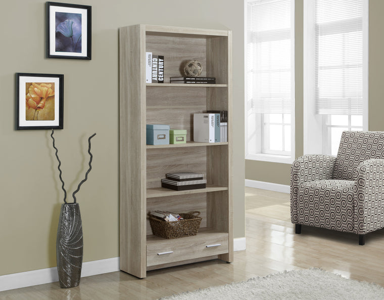 "71""H Natural Bookcase with Storage Drawer by Monarch Specialties Inc. - The Office Furniture Depot"