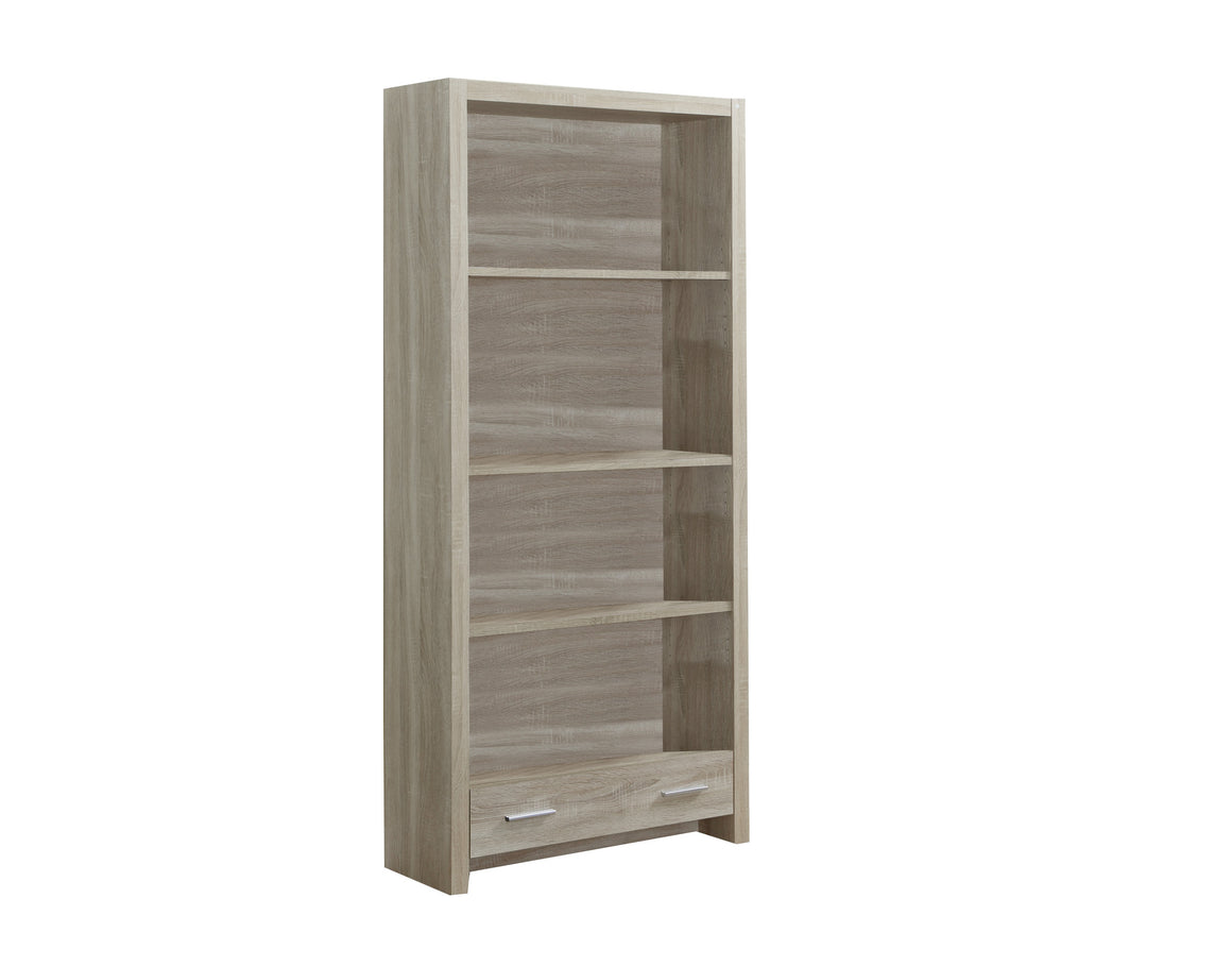 "71""H Natural Bookcase with Storage Drawer - TheOfficeFurnitureDepot"