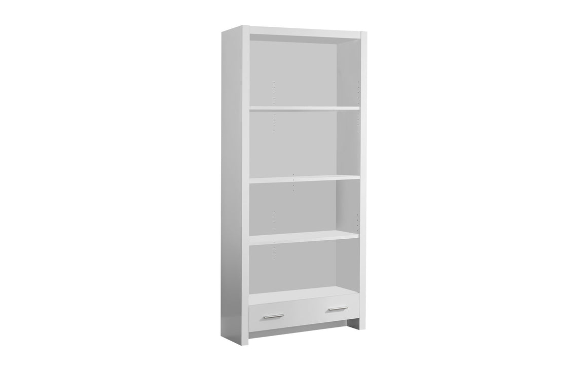 "71""H White Bookcase with Storage Drawer by Monarch Specialties Inc. - White Background - The Office Furniture Depot"