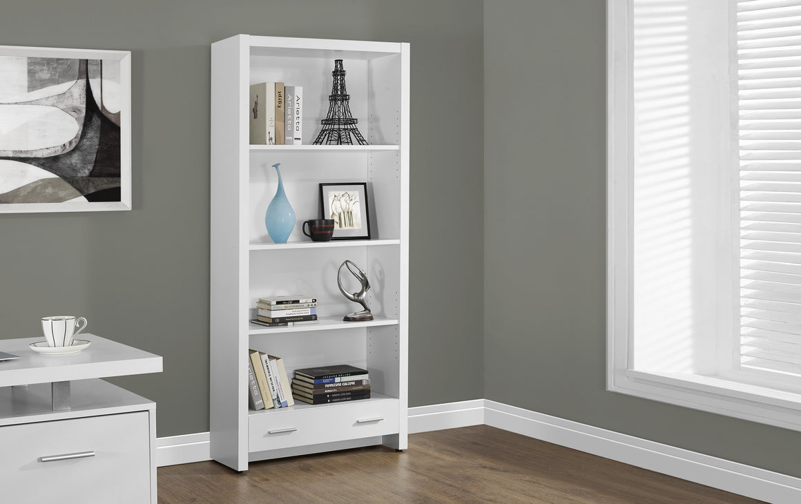 "71""H White Bookcase with Storage Drawer by Monarch Specialties Inc. - The Office Furniture Depot"