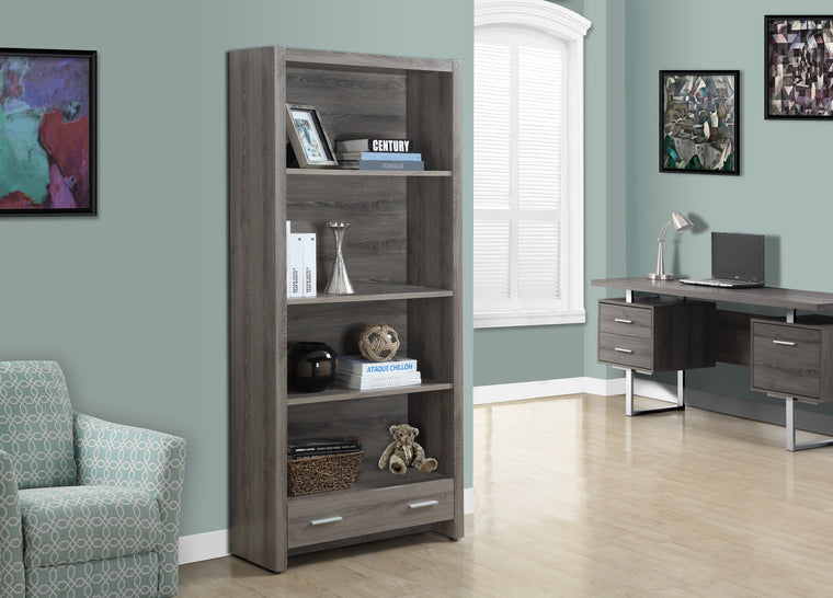 "71""H Dark Taupe Bookcase with Storage Drawer - TheOfficeFurnitureDepot"
