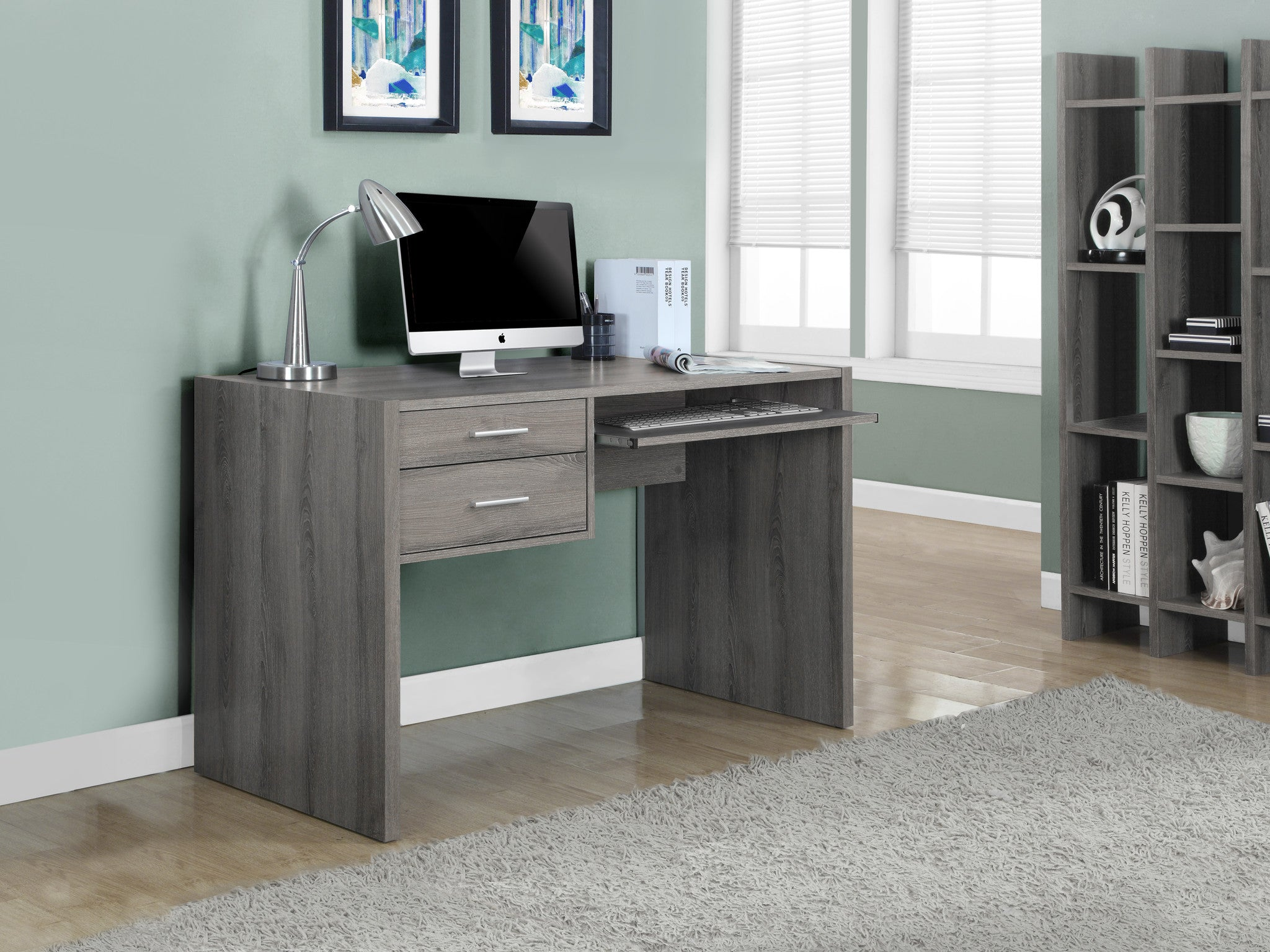 48 L Dark Taupe Computer Desk Drawers Pull Out Tray The Office Furniture Depot