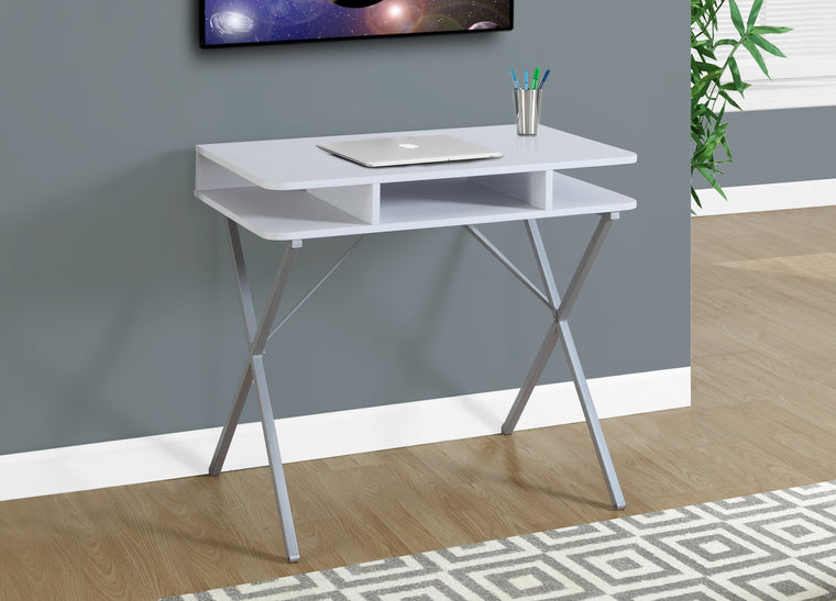 "31""L White Top / Silver Metal Computer Desk by Monarch Specialties Inc. - The Office Furniture Depot"