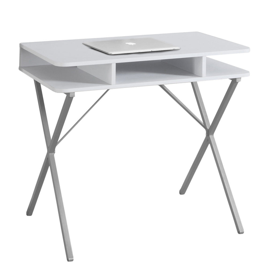 "31""L White Top / Silver Metal Computer Desk - TheOfficeFurnitureDepot"