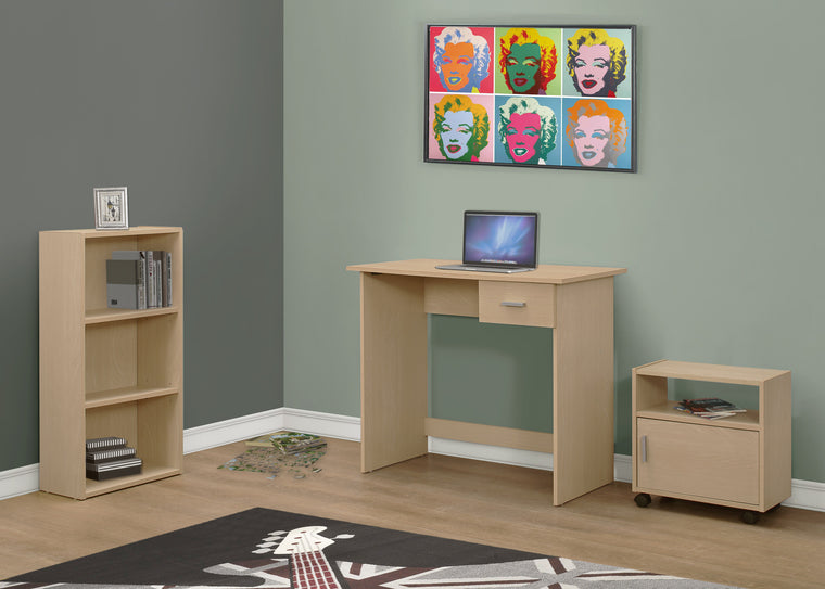 3 Piece Maple Computer Desk Set with Bookcase and Cart - TheOfficeFurnitureDepot