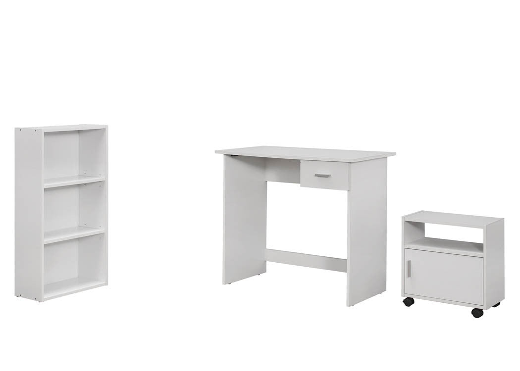3 Piece White Computer Desk Set with Bookcase and Cart - TheOfficeFurnitureDepot