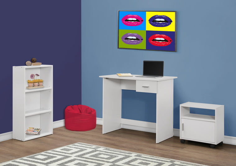 3 Piece White Computer Desk Set with Bookcase and Cart by Monarch Specialties Inc. - The Office Furniture Depot