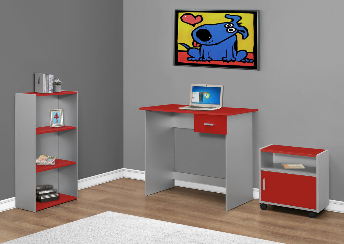 3 Piece Red and Silver Computer Desk Set with Bookcase and Cart - TheOfficeFurnitureDepot