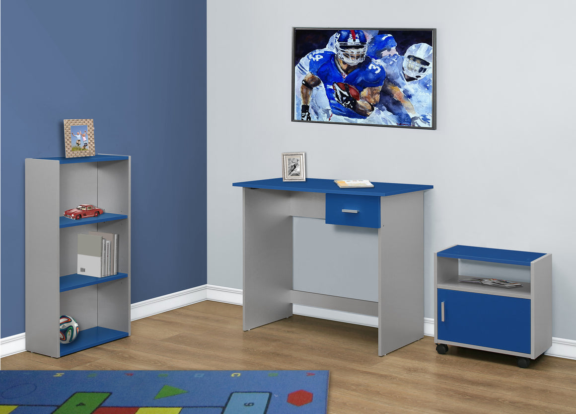 3 Piece Blue and Silver Computer Desk Set with Bookcase and Cart - TheOfficeFurnitureDepot