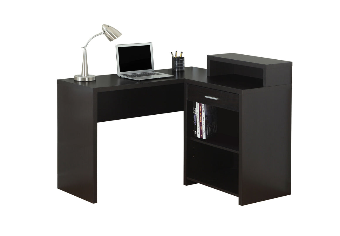 Corner Cappuccino Computer Desk with Storage - TheOfficeFurnitureDepot