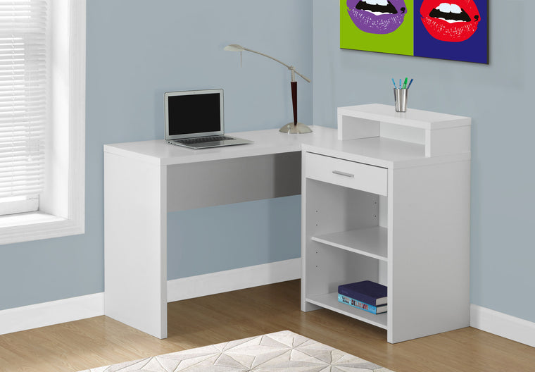 Corner White Computer Desk with Storage - TheOfficeFurnitureDepot