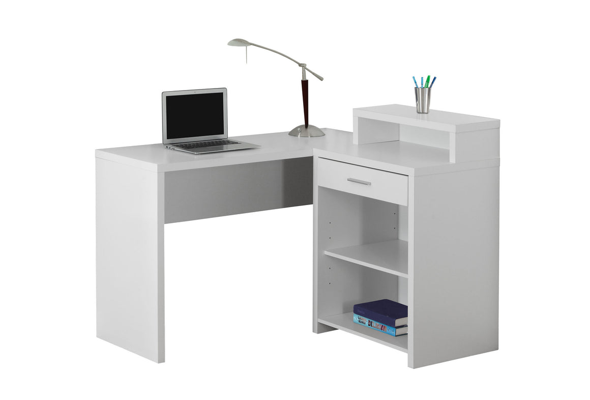 Corner White Computer Desk with Storage by Monarch Specialties Inc. - White Background - The Office Furniture Depot