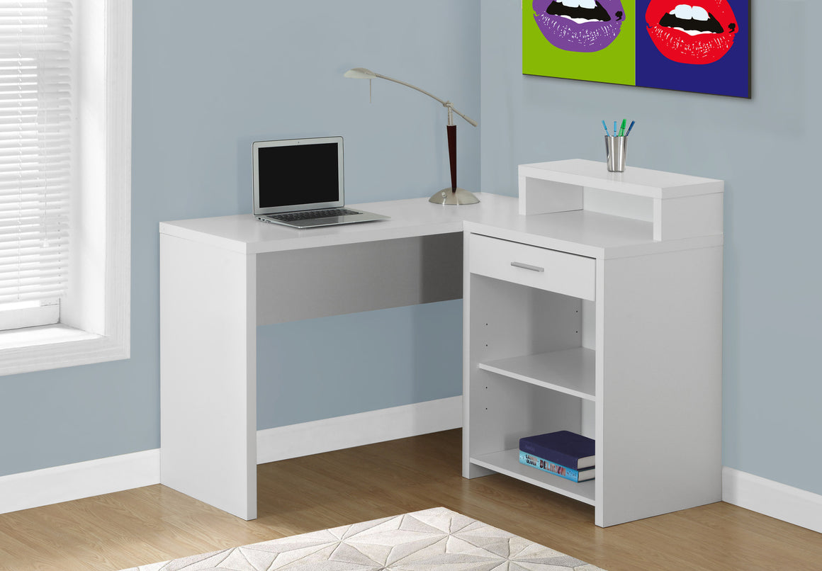 Corner White Computer Desk with Storage by Monarch Specialties Inc. - The Office Furniture Depot