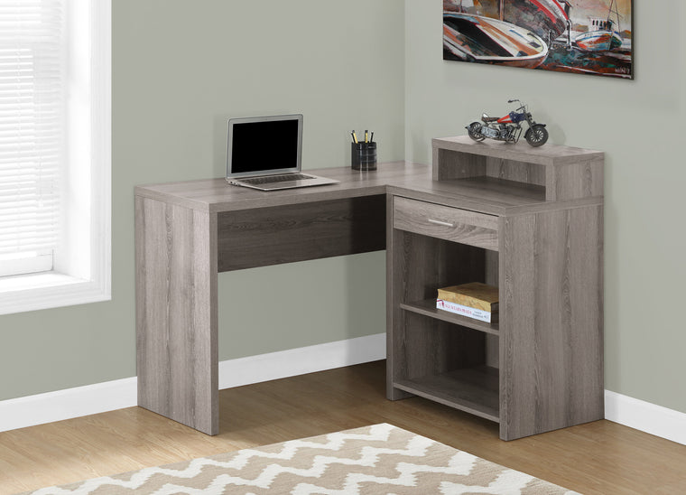 Corner Dark Taupe Computer Desk with Storage by Monarch Specialties Inc. - The Office Furniture Depot