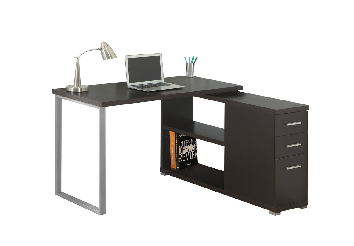 Cappuccino Corner Computer Desk / Left Or Right Facing / Type 3 by Monarch Specialties Inc. - White Background - The Office Furniture Depot