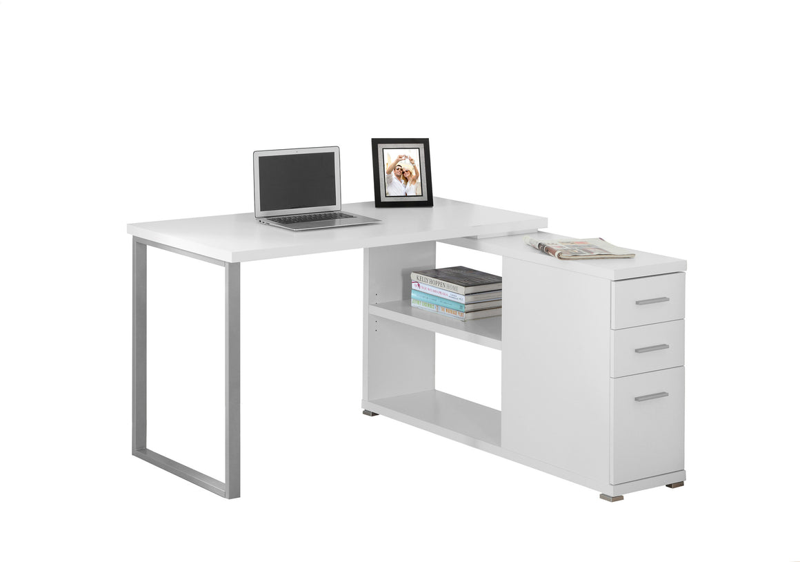 White Corner Computer Desk / Left Or Right Facing / Type 3 by Monarch Specialties Inc. - White Background - The Office Furniture Depot