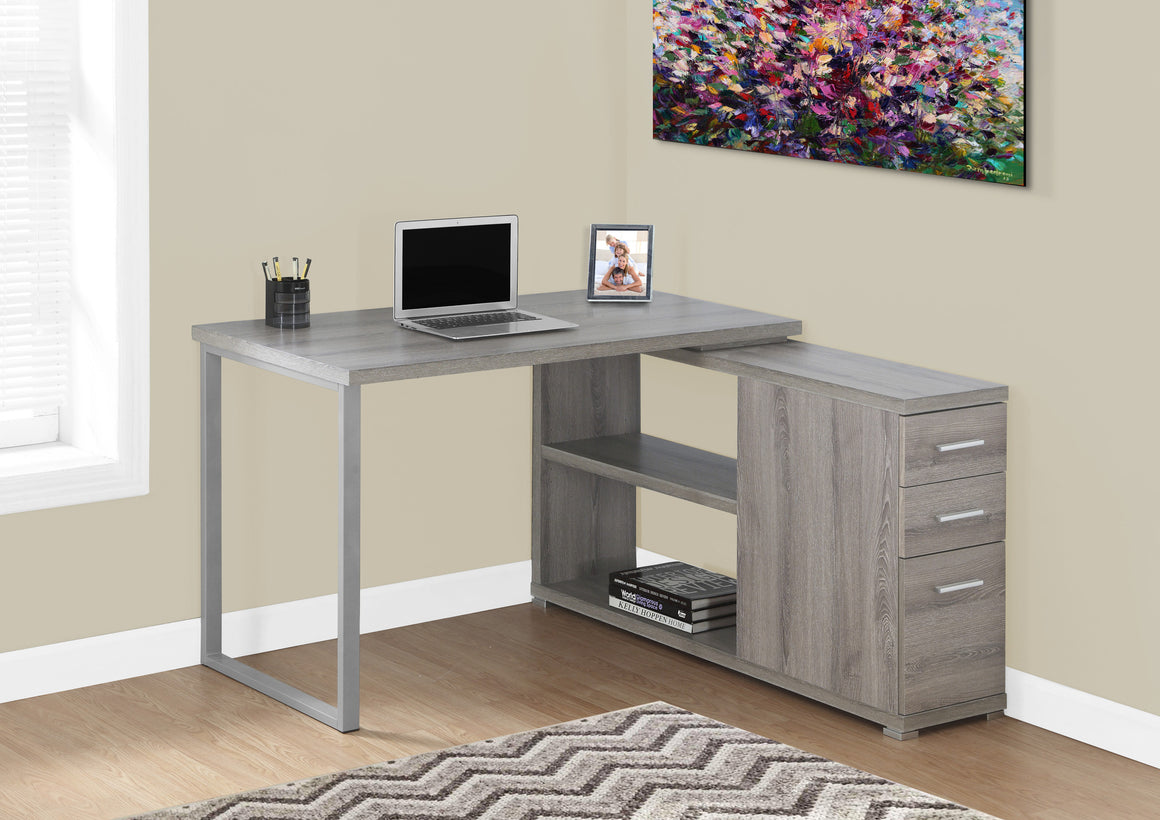Dark Taupe Corner Computer Desk / Left Or Right Facing / Type 3 by Monarch Specialties Inc. - The Office Furniture Depot