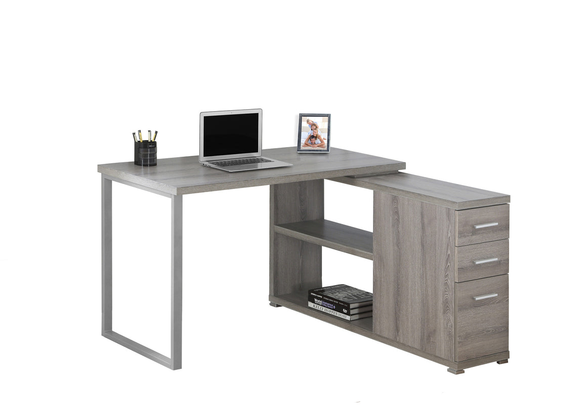 Dark Taupe Corner Computer Desk / Left Or Right Facing / Type 3 by Monarch Specialties Inc. - White Background - The Office Furniture Depot