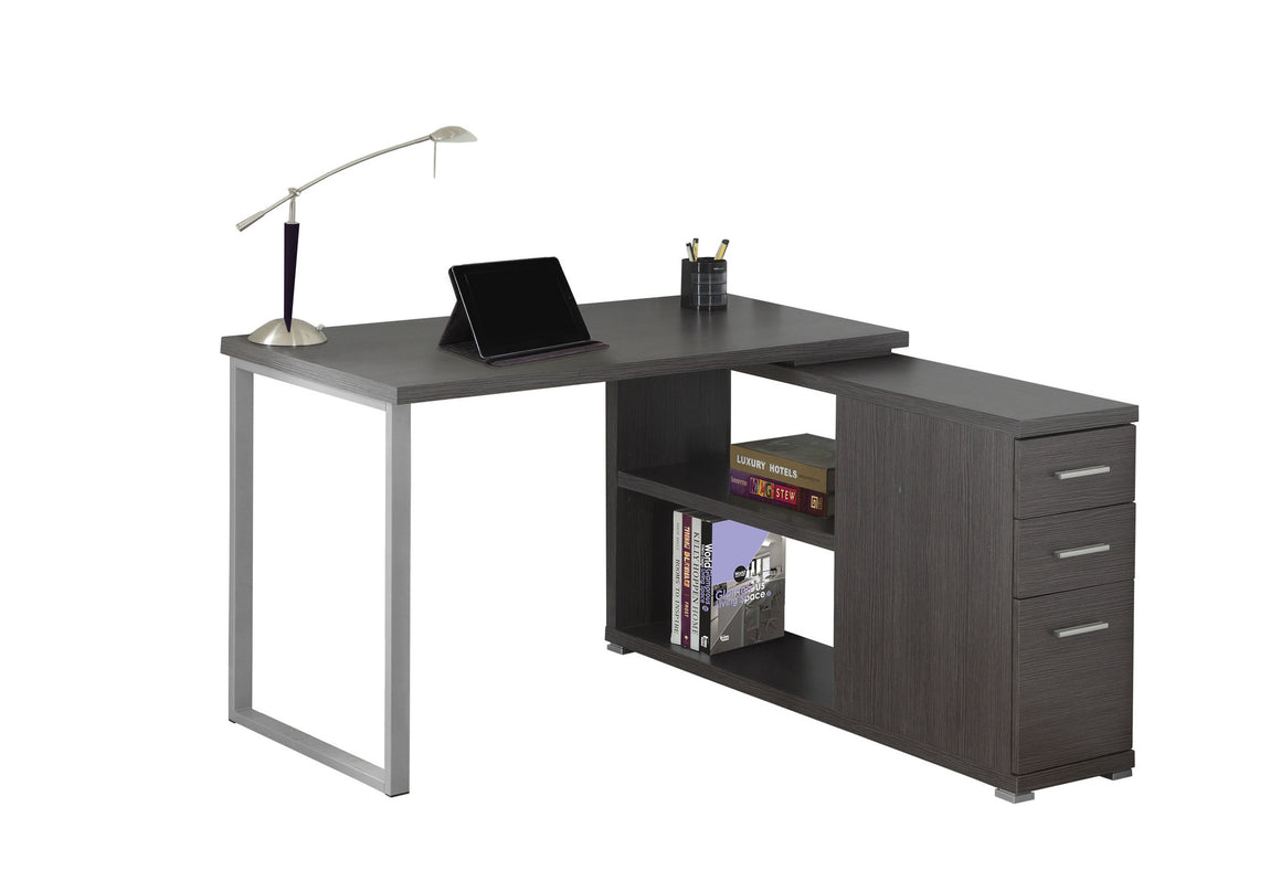Grey Corner Computer Desk / Left Or Right Facing / Type 3 by Monarch Specialties Inc. - White Background - The Office Furniture Depot