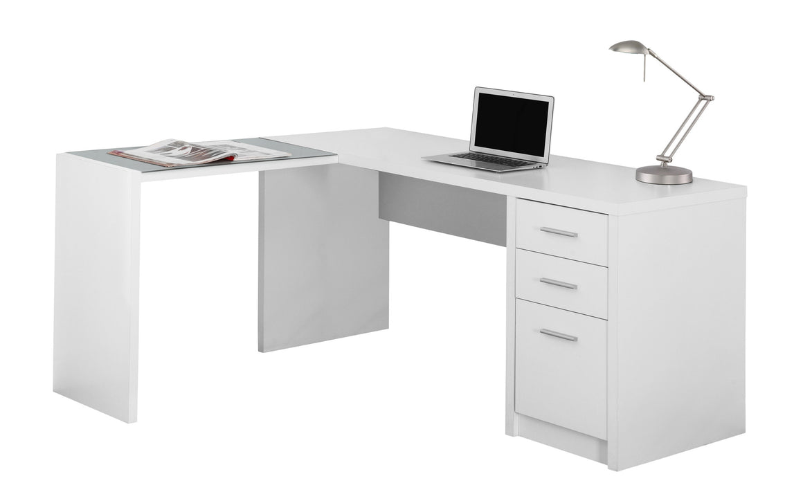 White Corner Computer Desk with Tempered Glass by Monarch Specialties Inc. - White Background - The Office Furniture Depot