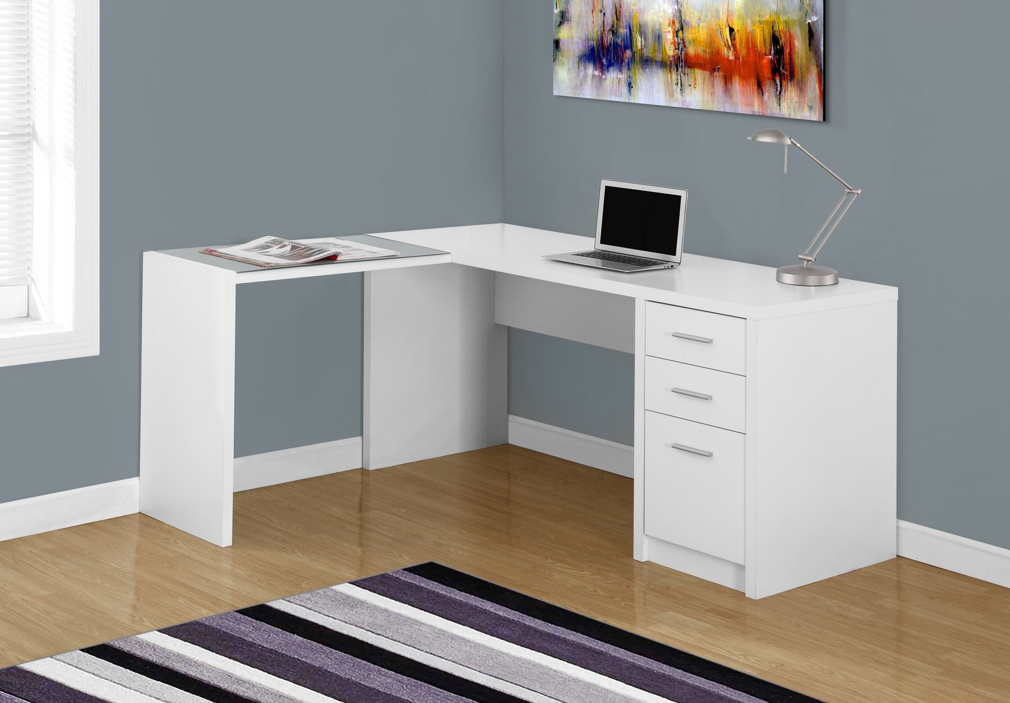 White Corner Computer Desk with Tempered Glass