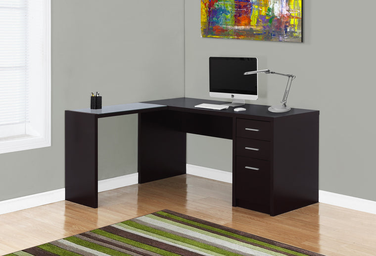 Cappuccino Corner Computer Desk with Tempered Glass by Monarch Specialties Inc. - The Office Furniture Depot