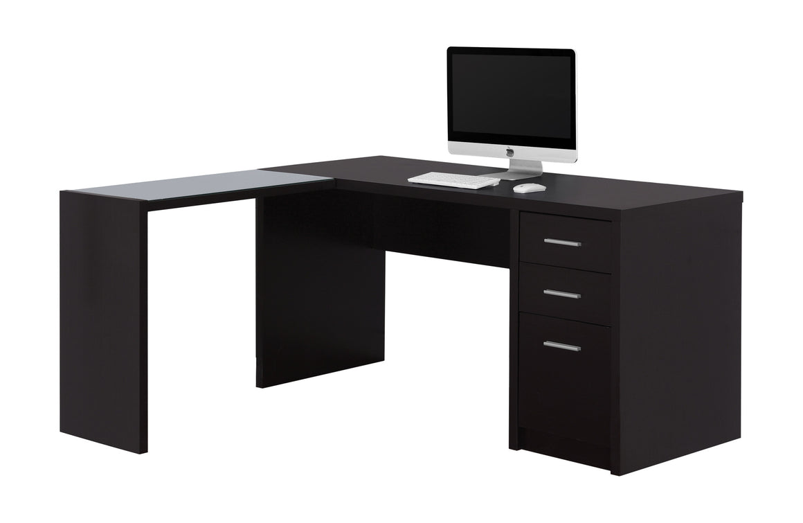 Cappuccino Corner Computer Desk with Tempered Glass - TheOfficeFurnitureDepot