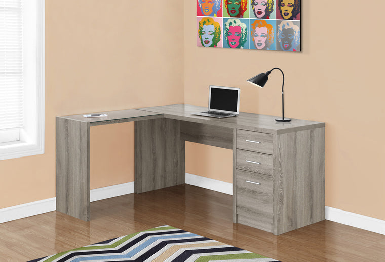 Dark Taupe Corner Computer Desk with Tempered Glass by Monarch Specialties Inc. - The Office Furniture Depot
