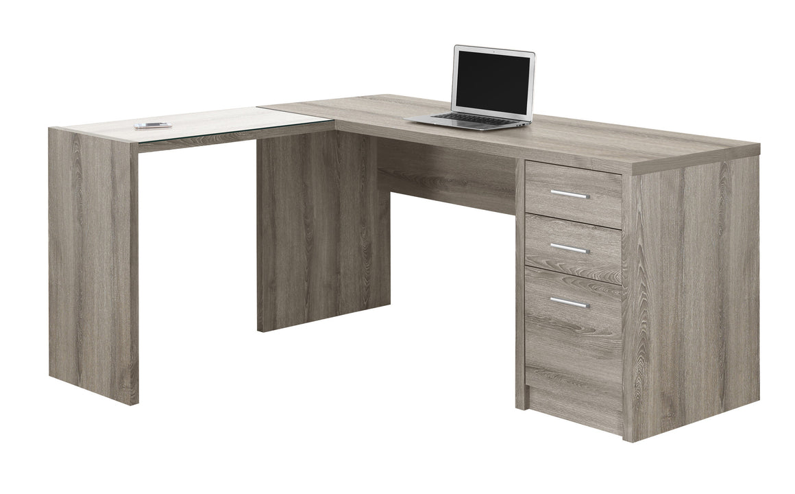 Dark Taupe Corner Computer Desk with Tempered Glass - TheOfficeFurnitureDepot