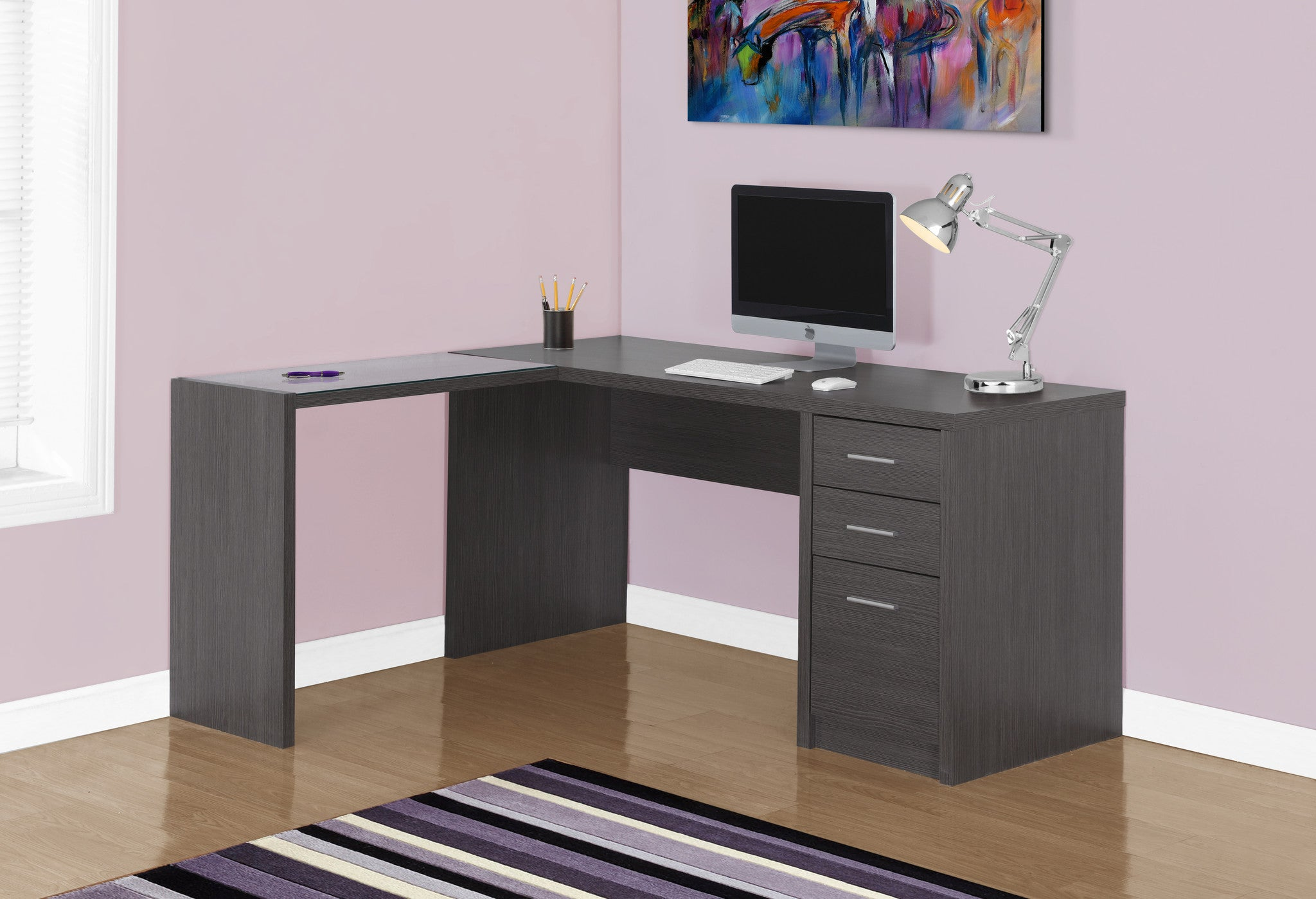 Grey Corner Computer Desk with Tempered Glass