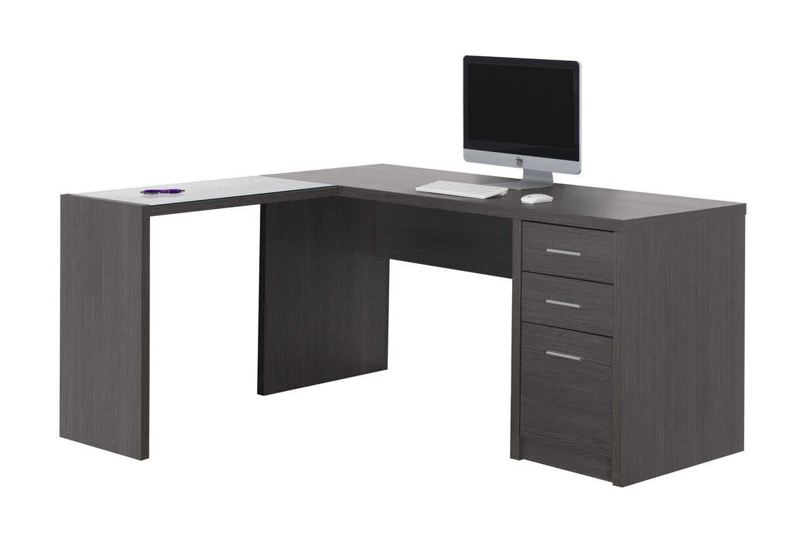 Grey Corner Computer Desk with Tempered Glass - TheOfficeFurnitureDepot