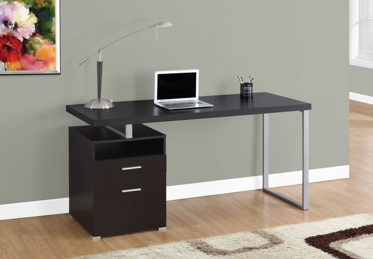 "60""L Cappuccino Computer Desk / Silver Metal Legs / Left Drawers by Monarch Specialties Inc. - TheOfficeFurnitureDepot"