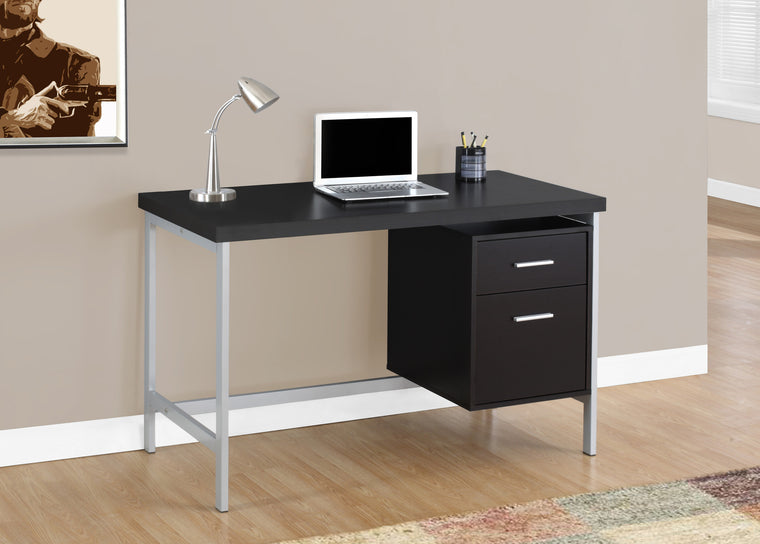 "48""L Cappuccino Computer Desk / Silver Metal Legs / Right Drawers by Monarch Specialties Inc. - The Office Furniture Depot"