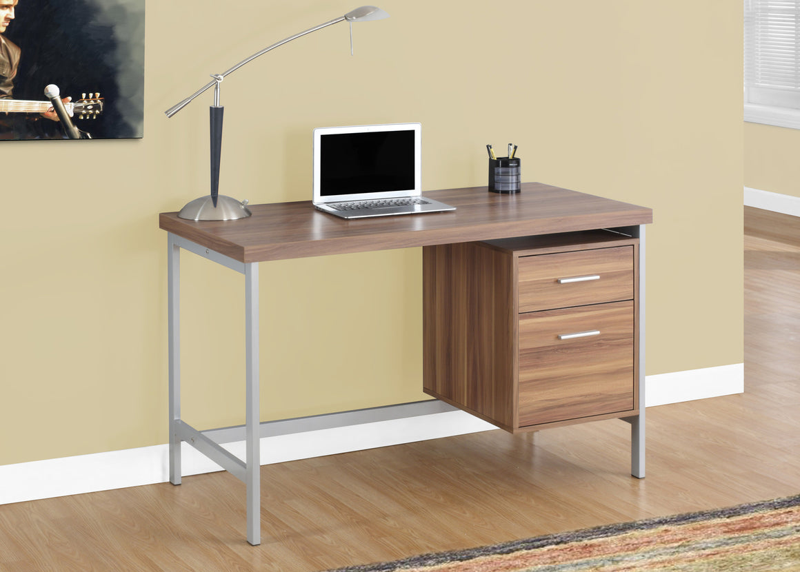"48""L Computer Desk / Silver Metal Legs / Drawers - TheOfficeFurnitureDepot"