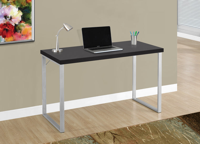 "48""L Cappuccino Computer Desk / Silver Metal Legs by Monarch Specialties Inc. - The Office Furniture Depot"