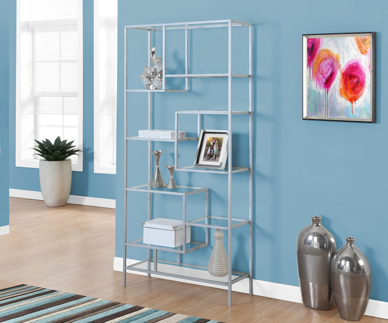 "72""H Silver Metal Bookcase with Tempered Glass by Monarch Specialties Inc. - The Office Furniture Depot"