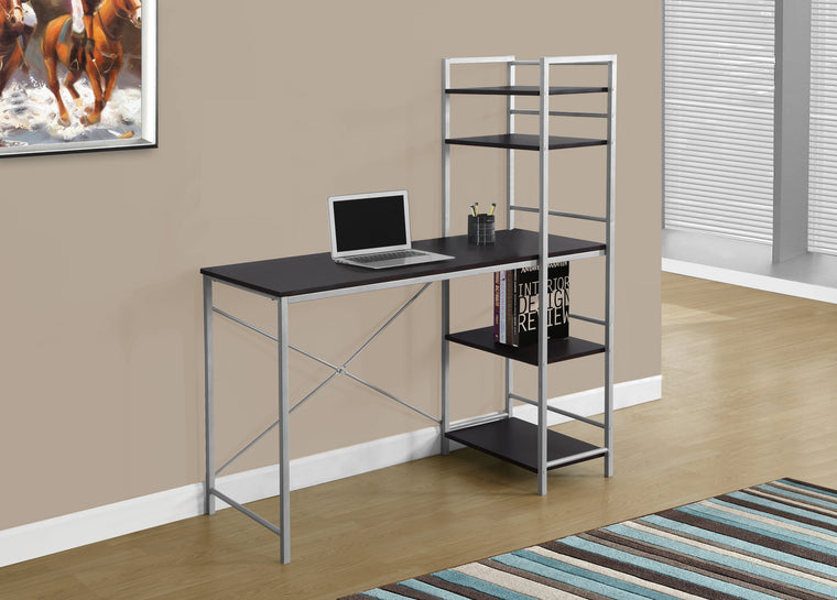 "48""L Cappuccino Top / Silver Metal Computer Desk by Monarch Specialties Inc. - The Office Furniture Depot"