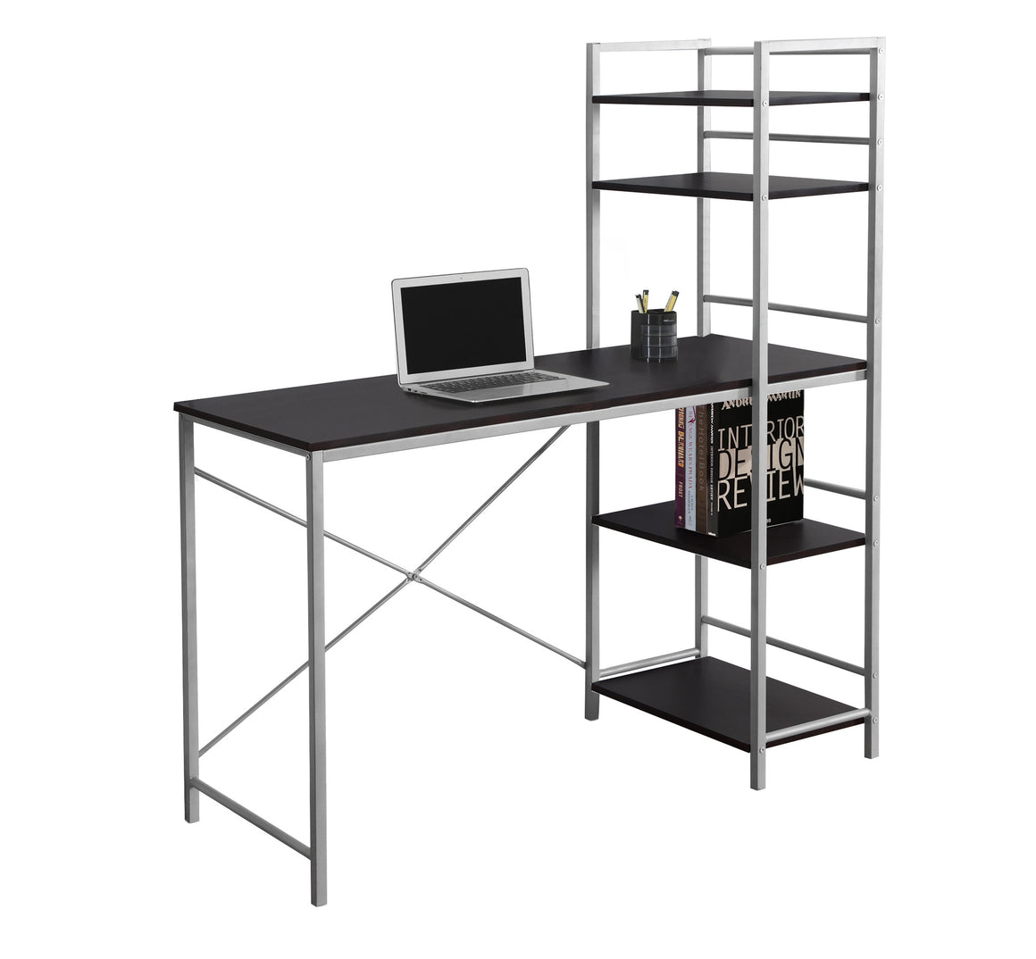 "48""L Cappuccino Top / Silver Metal Computer Desk - TheOfficeFurnitureDepot"