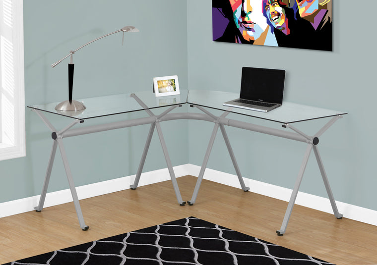 Silver Metal Computer Desk with Tempered Glass - TheOfficeFurnitureDepot