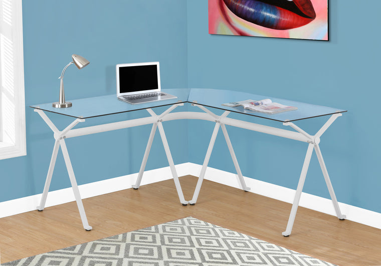 White Metal Computer Desk with Tempered Glass by Monarch Specialties Inc. - The Office Furniture Depot