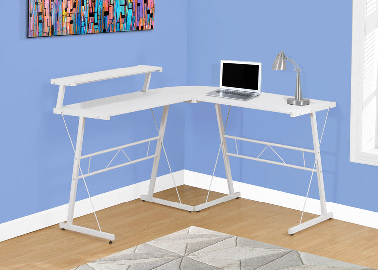 White Top / White Metal Computer Desk by Monarch Specialties Inc. - The Office Furniture Depot