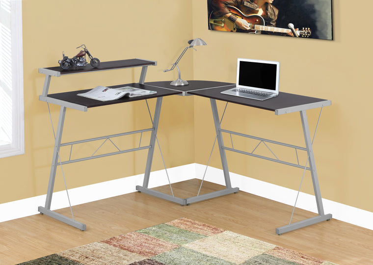 Cappuccino Top / Silver Metal Computer Desk by Monarch Specialties Inc. - The Office Furniture Depot