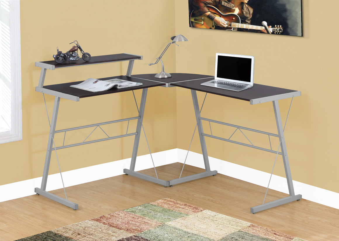Cappuccino Top / Silver Metal Computer Desk - TheOfficeFurnitureDepot