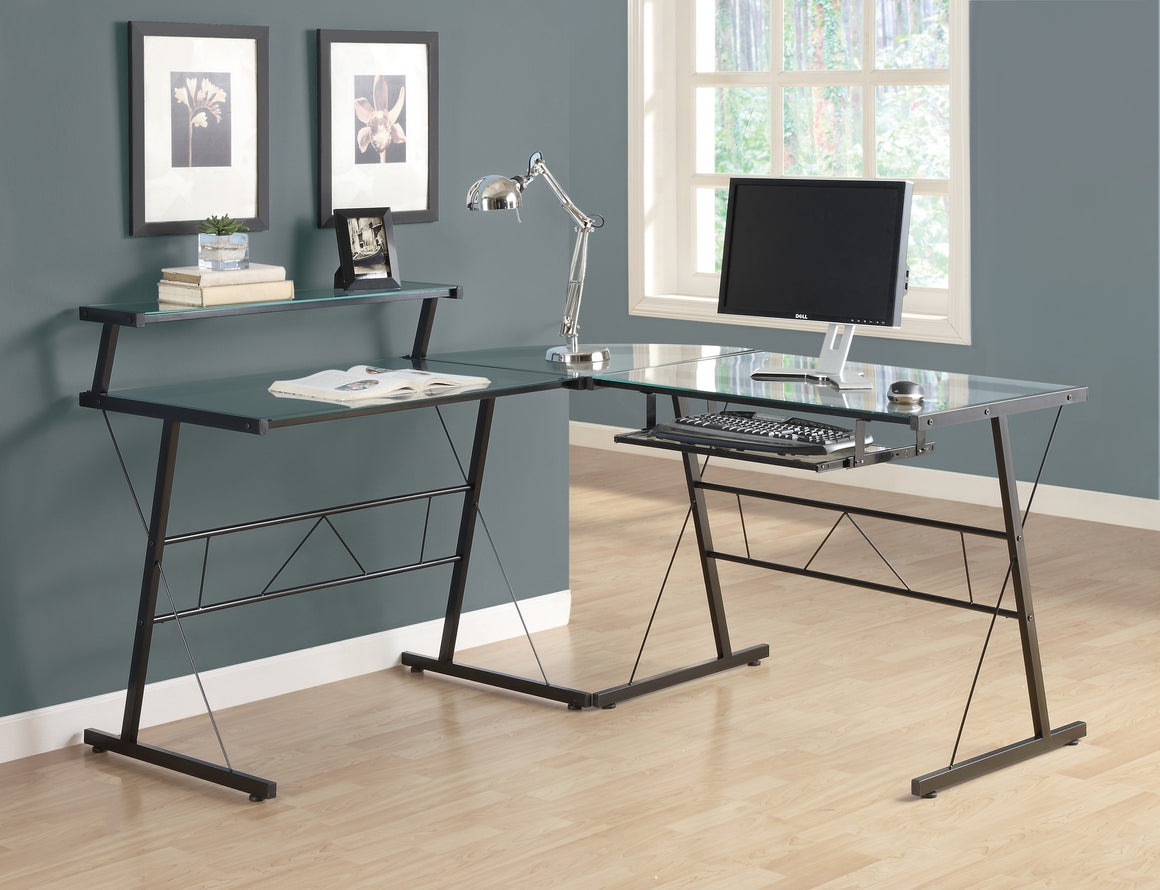 Black Metal Corner Computer Desk with Tempered Glass - TheOfficeFurnitureDepot