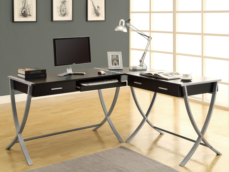 Corner 3 Piece Cappuccino Computer Desk Set by Monarch Specialties Inc. - The Office Furniture Depot