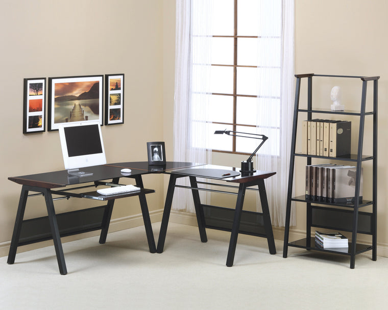 Dark Walnut Accent / Black Metal Computer Desk by Monarch Specialties Inc. - The Office Furniture Depot
