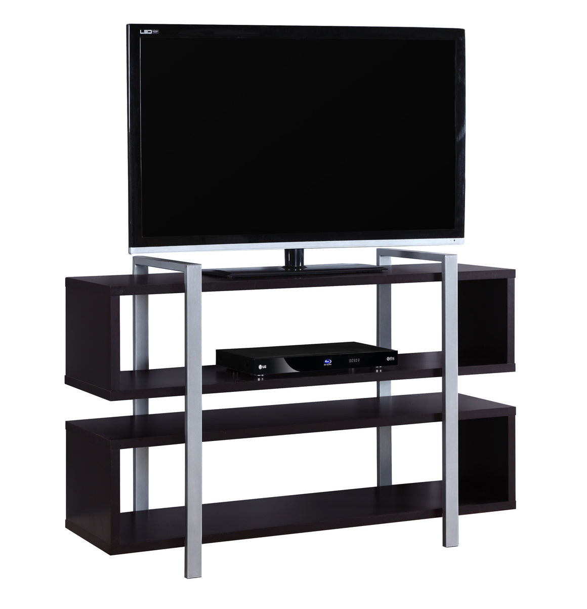 "48""L X 32""H Cappuccino Bookcase And TV Stand by Monarch Specialties Inc. - White Background - The Office Furniture Depot"