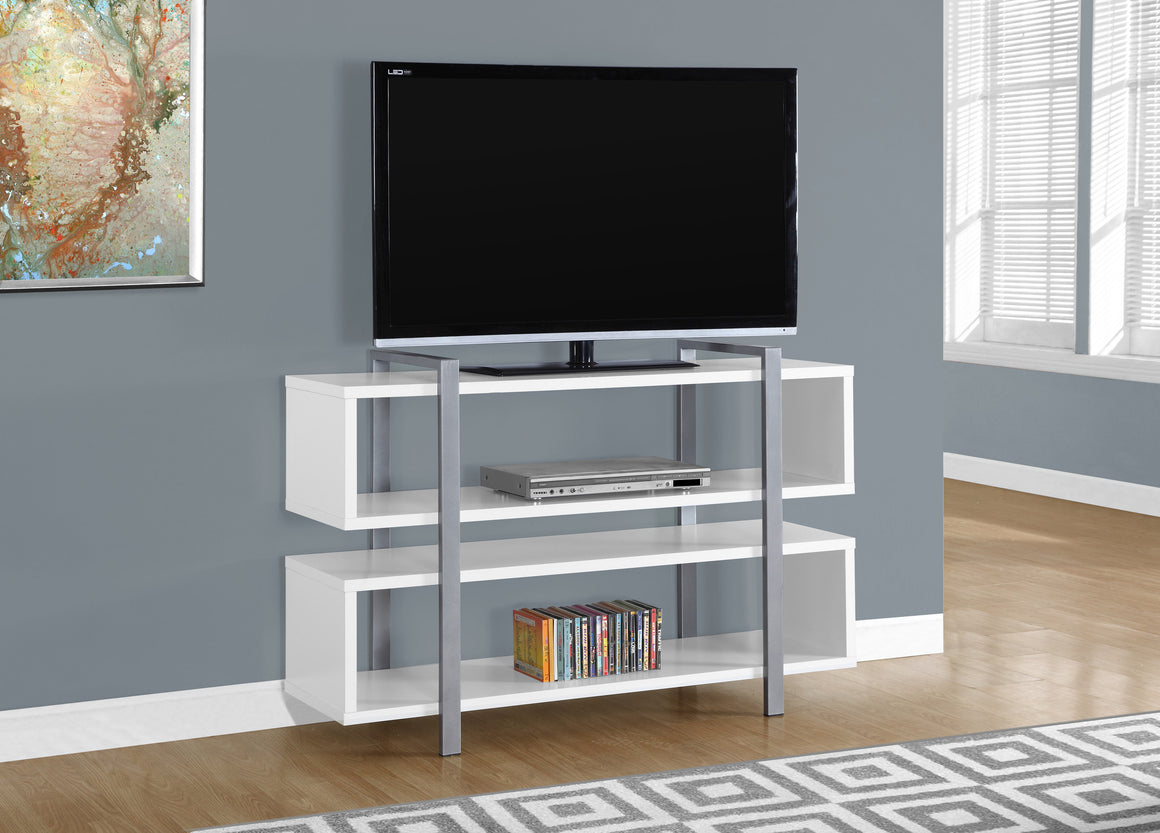"48""L X 32""H White Bookcase And TV Stand - TheOfficeFurnitureDepot"