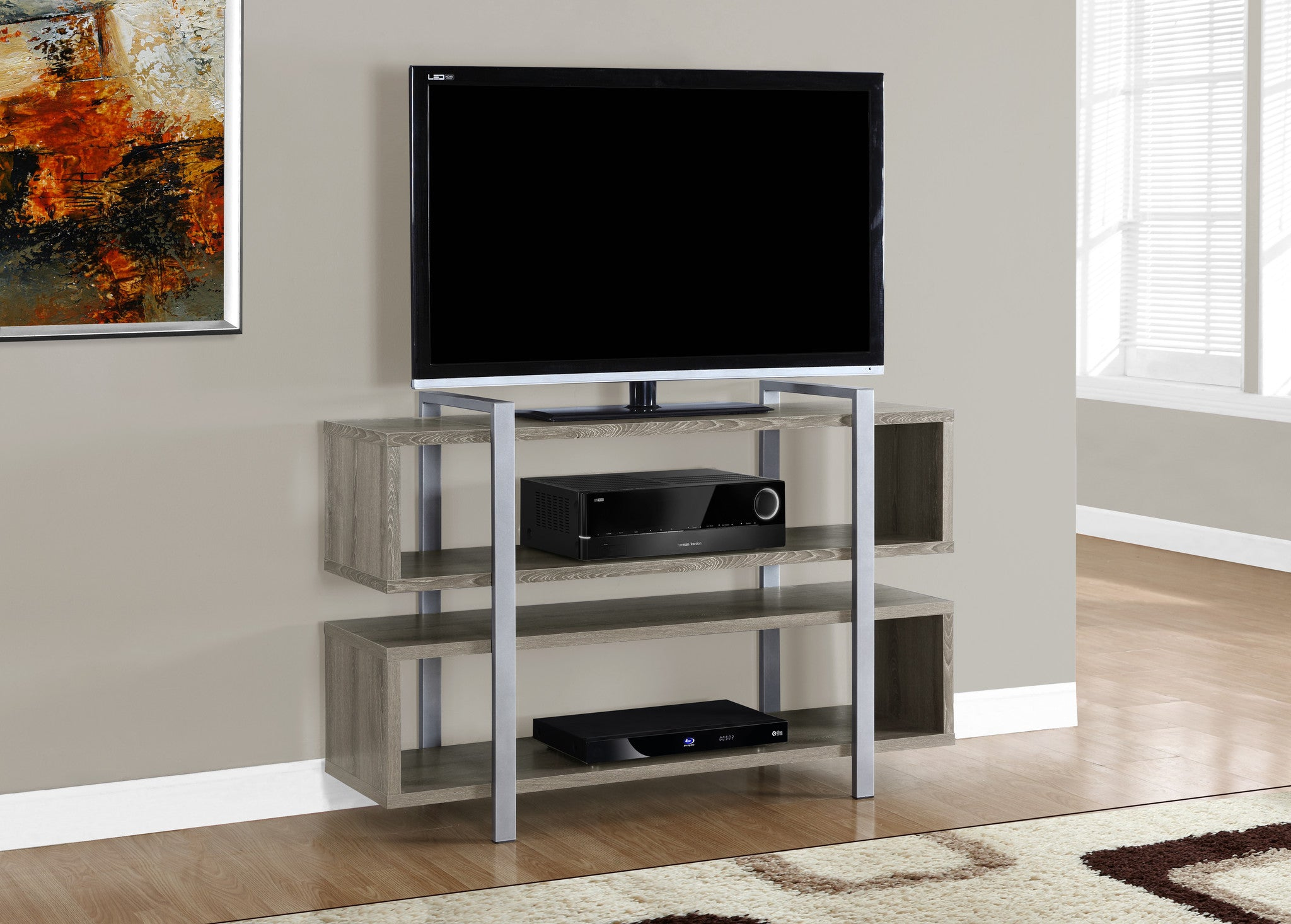 48 L X 32 H Dark Taupe Bookcase And Tv Stand